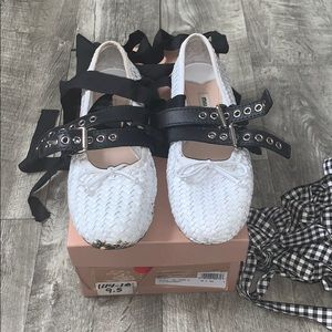 Miu Miu Tie Up White Ballerina Flats